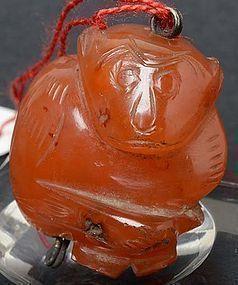Antique Chinese Stone Toggle of Monkey