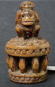 Antique Chinese Wood Toggle of Monkey Riding a Lion