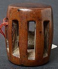 Antique Chinese Wood Toggle of Drum