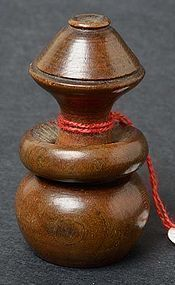 Antique Chinese Wood Toggle of Bottle Gourd