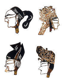 Antique Chinese Leather Shadow Puppet's Heads