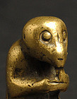 Antique Chinese Brass Toggle of Monkey