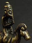 Antique Chinese Brass Toggle of Equestrian Monkey