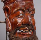 Antique Chinese Nuo Mask of Tudi Gong.