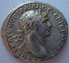 A ROMAN SILVER TRIDRACHM OF TRAJAN