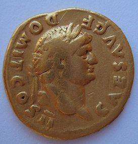 A ROMAN GOLD AUREUS OF DOMITIAN