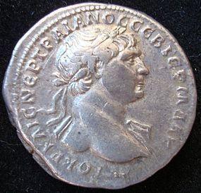 A ROMAN SILVER TRIDRACHM OF EMPEROR TRAJAN
