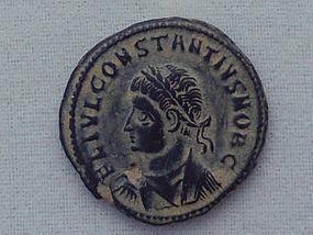 A ROMAN BRONZE FOLLIS OF CONSTANTINE II