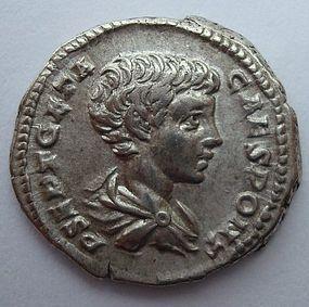 A ROMAN SILVER DENARIUS OF GETA