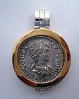 A ROMAN SILVER DENARIUS OF GETA IN SILVER AND 24K GOLD