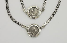 TWO SILVER COINS OF JULIA DOMNA IN BRACELET AND NECKLACE