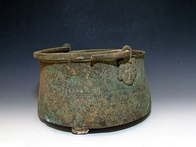 A ROMAN BRONZE SITULA (COOKING POT)