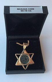A MASADA PRUTAH OF THE FIRST JEWISH REVOLT IN 18K GOLD