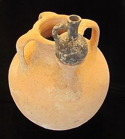 A RARE ISREALITE STORAGE JAR WITH A BLACK JUGLET