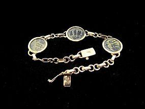 THREE BRONZE PRUTOT OF HEROD AGRIPPA I SET IN 14K GOLD BRACELET