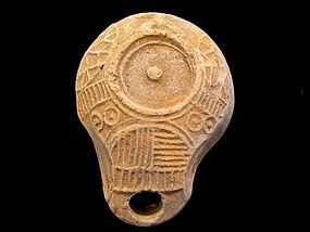 JEWISH SAMARITAN TERRACOTTA OIL LAMP (SEALED DISCUS)