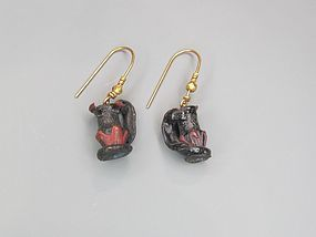 TWO ROMAN GLASS MINIATURE JUGLET SET IN EARRINGS