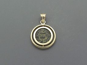 A MASADA PRUTOT OF THE FIRST JEWISH REVOLT IN 18K GOLD PENDANT