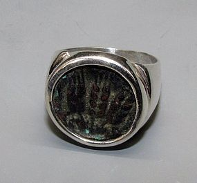 A BRONZE PRUTAH OF HEROD AGRIPPA I SET IN STERLING SILVER RING