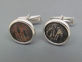 TWO BRONZE PRUTOT OF PONTIUS PILATE SET IN SILVER CUFFLINKS