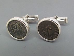 TWO BRONZE PRUTOT OF PONTIUS PILATE WITH LITUUS IN SILVER CUFFLINKS