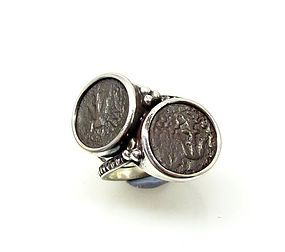 TWO WIDOWS MITES OF ALEXANDER JANNAEUS IN STERLING SILVER RING
