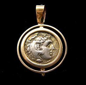 A SILVER DRACHM OF ALEXANDER THE GREAT IN 14K GOLD