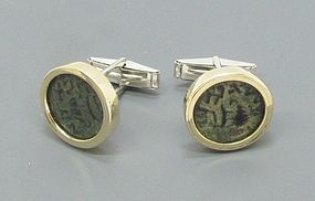 TWO MASADA PRUTOT OF FIRST JEWISH REVOLT IN GOLD AND SILVER CUFFLINKS