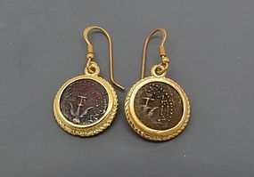 TWO WIDOWS MITE OF ALEXANDER JANNAEUS IN GOLD FILLED EARRINGS