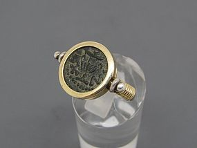 A MASADA PRUTAH OF THE FIRST JEWISH REVOLT IN 14K GOLD SWIVEL RING