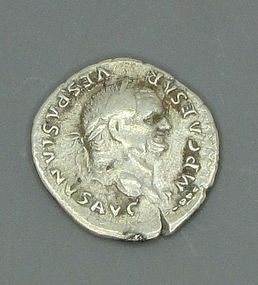 A ROMAN DENARIUS OF VESPASIAN WITH PAX ENTHRONED
