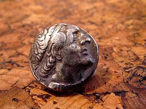 A SILVER TETRADRACHM OF PTOLEMY II PHILADELPHOS FROM TYRE