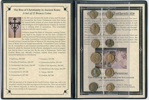 THE RISE OF CHRISTIANITY IN ANCIENT ROME:  A SET OF 12 BRONZE COINS