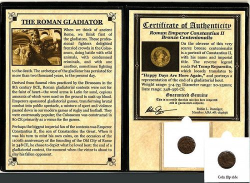 THE ROMAN GLADIATOR:  A BRONZE COIN OF CONSTANTIUS II