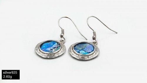 ROMAN GLASS FRAGMENTS IN SILVER EARRINGS