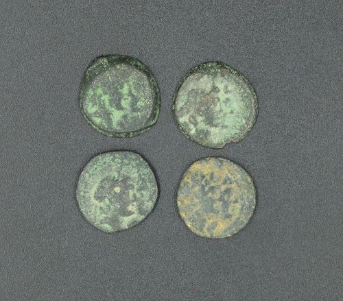 FOUR BRONZE COINS OF ANTIOCHUS VIII AND CLEOPATRA THEA
