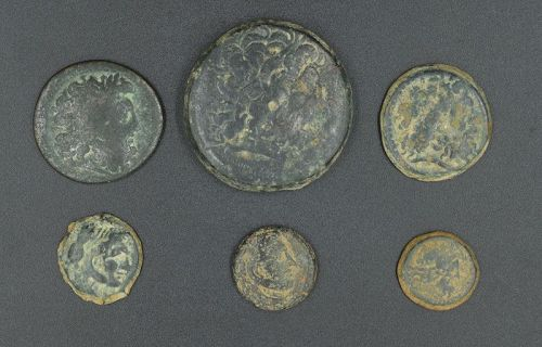 SIX BRONZE COINS OF PTOLEMY I-II