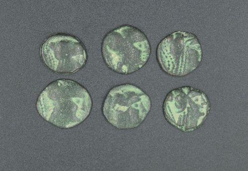 SIX NABATEAN BRONZE COINS OF ARETAS II