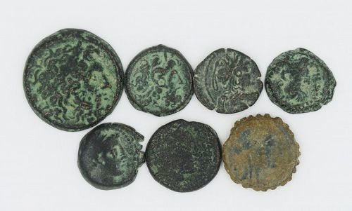 SEVEN BRONZE COINS OF THE DIADOCHI
