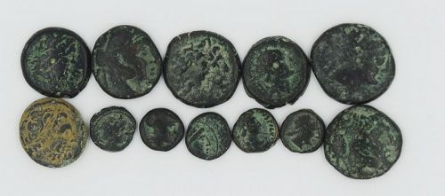 TWELVE BRONZE COINS OF THE DIADOCHI
