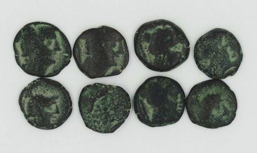 EIGHT NABATEAN BRONZE COINS OF ARETAS II