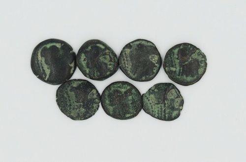 SEVEN NABATEAN BRONZE COINS OF ARETAS II