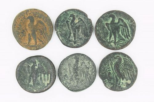 SIX BRONZE DIOBOLS OF PTOLEMY I-II