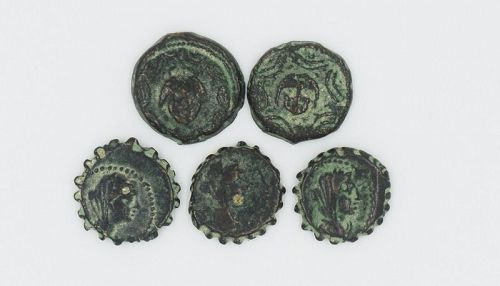 FIVE BRONZE COINS OF ANTIOCHUS III AND ANTIOCHUS IV