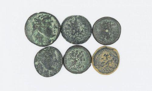 SIX BRONZE COINS OF THE PTOLEMIES