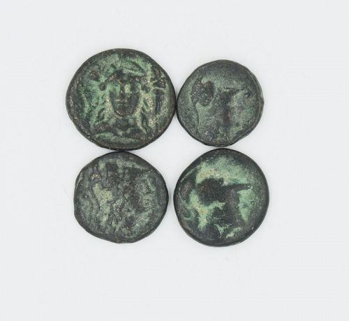 FOUR BRONZE COINS OF SIDE, PAMPHYLIA