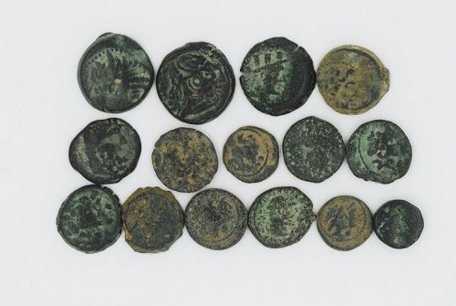 A LOT OF 15 BRONZE GREEK COINS