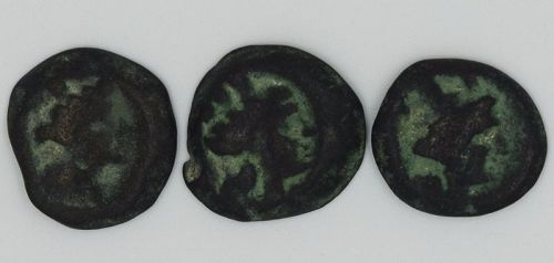 THREE BRONZE COINS OF ARADOS WITH TYCHE