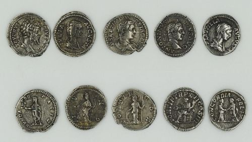 FIVE SILVER DENARII OF THE SEVERAN DYNASTY