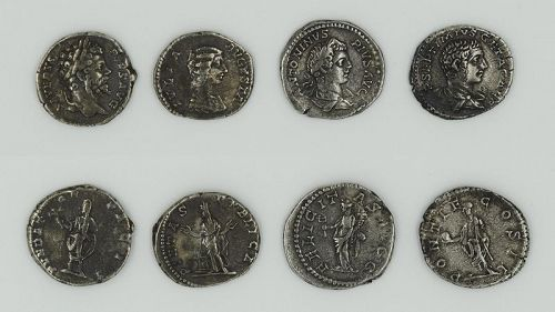 FOUR DENARII OF THE SEVERAN DYNASTY